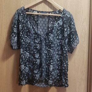 AE sheer black white floral mosaic top with tie